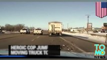 Police dash cam: hero cop jumps onto moving vehicle to end police chase caught - TomoNews