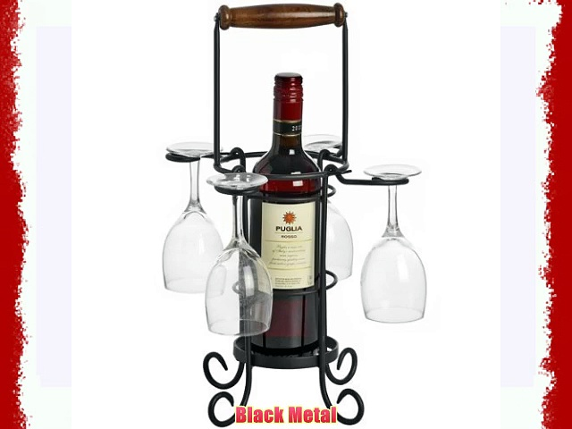 Wine Bottle and 4 Wine Glass Holder in a Black Metal with Wooden Handle
