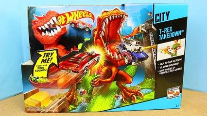 Hot Wheels City T-Rex Takedown Giant Dinosaur Attacks Eats Ninja Turtles T-Machines and Car Toys
