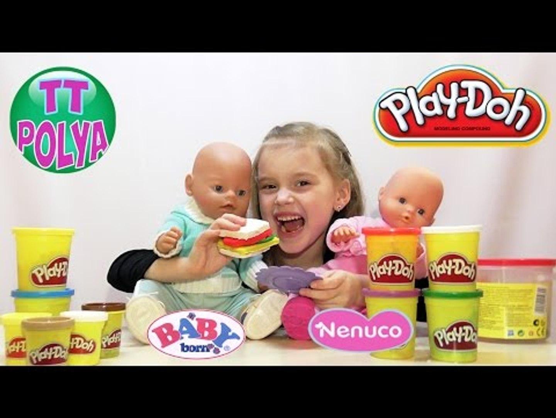 ✔ Ненуко и Беби Борн. Девочка Поля делает бургеры с новым набором Плей До / Nenuco and Baby Born ✔