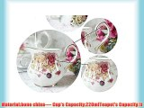 European Style Bone ChinaLove Rose Printed Ceramic Porcelain Tea Cup Set With Lid And Saucermetal