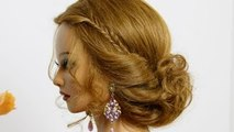 Easy hairstyle for medium hair. Wedding prom updo