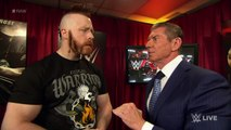 WWE Raw: Mr. McMahon gives pre-match instructions to Roman Reigns and Sheamus - January 4, 2016