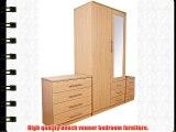 Las Vegas Beech Bedroom Furniture Range - 2 Door Wardrobe with Mirror and 3 Drawers - Mirrored