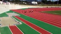 Sumo Wrestlers Running on 50 Meter Race
