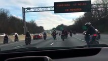 Motorcycles Hold Up Traffic To Screw Around On The Highway