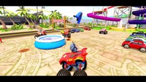 Wheels On The Bus Go Round and Round   Monster Truck McQueen Cars, Stitch, Donald Duck & Frozen Elsa