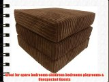 sit n sleep folding seat guest bed futon pouffee fold out chair in dark brown jumbo cord
