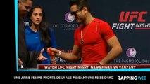 Une femme profite des muscles de combattants UFC pendant la pesée (vidéo)