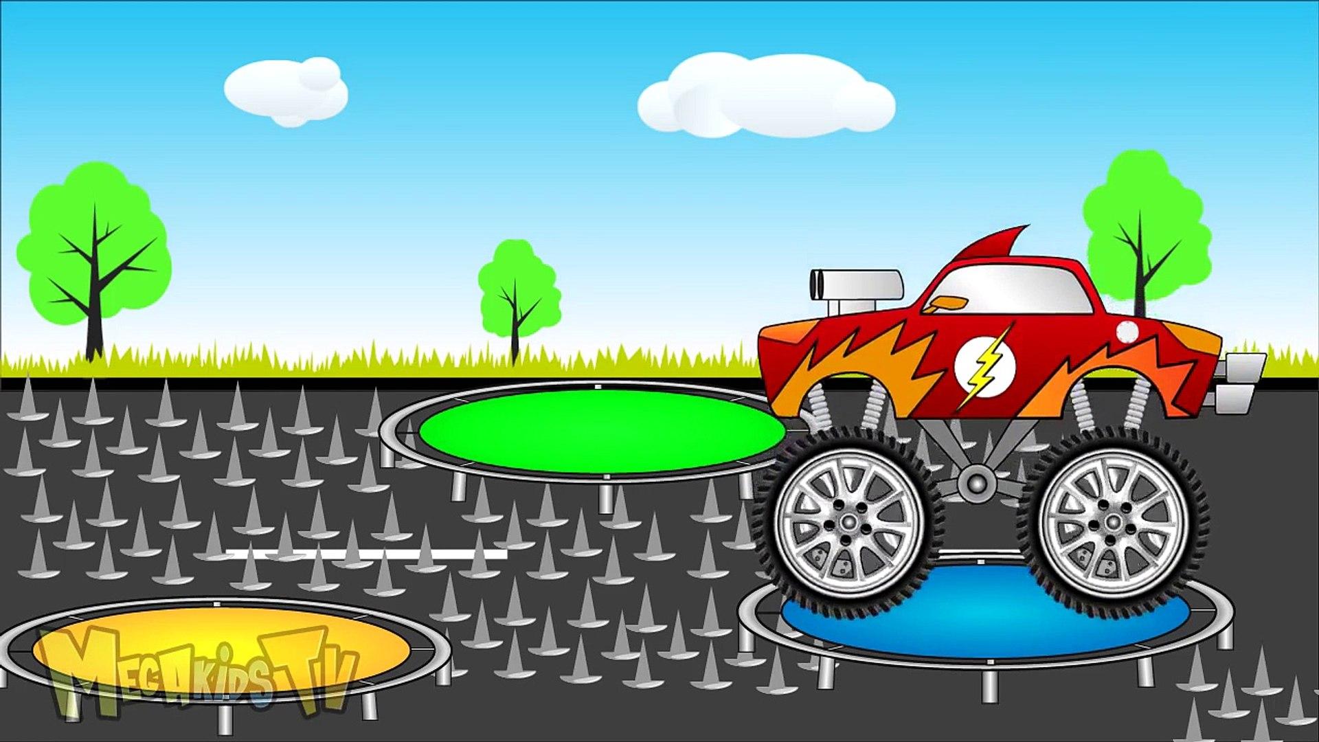 Green Truck Vs Flash Truck - Trucks For Kids - Mega Kids Tv