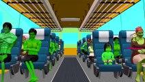Spiderman, Hulk And Dinosaurs Cartoons Singing Wheels On The Bus Go Round And Round Nurser