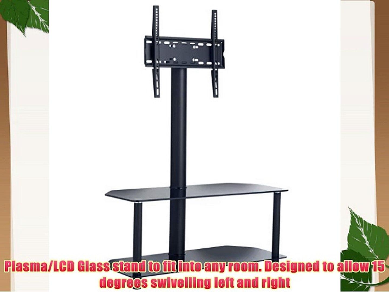VonHaus Glass Floor TV Stand with Swivel Bracket for 23 - 47 TVs - Free 2 Year Warranty
