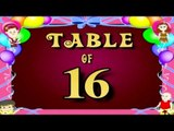 Learn 16x Table | Learn SIXTEEN Multiplication Tables For Kids | Fun And Learn Videos