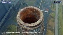 La destruction de deux cheminées géantes filmées par un drone