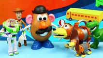 Toy Story Mr Potato Head Sells a Slinky Dog Bubble Machine to Rex Dinosaur and Buzz Lightyear