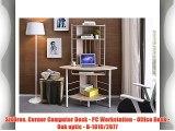 SixBros. Corner Computer Desk - PC Workstation - Office Desk - Oak optic - B-1010/2077