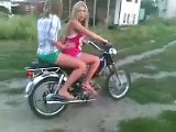 Funny Clips Beautiful Girls on Motorbike, Whats Happen