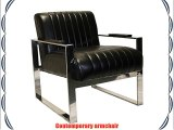 Gallery Direct Torino Armchair Leather 23.5 x 29 x 27.5-inch Black