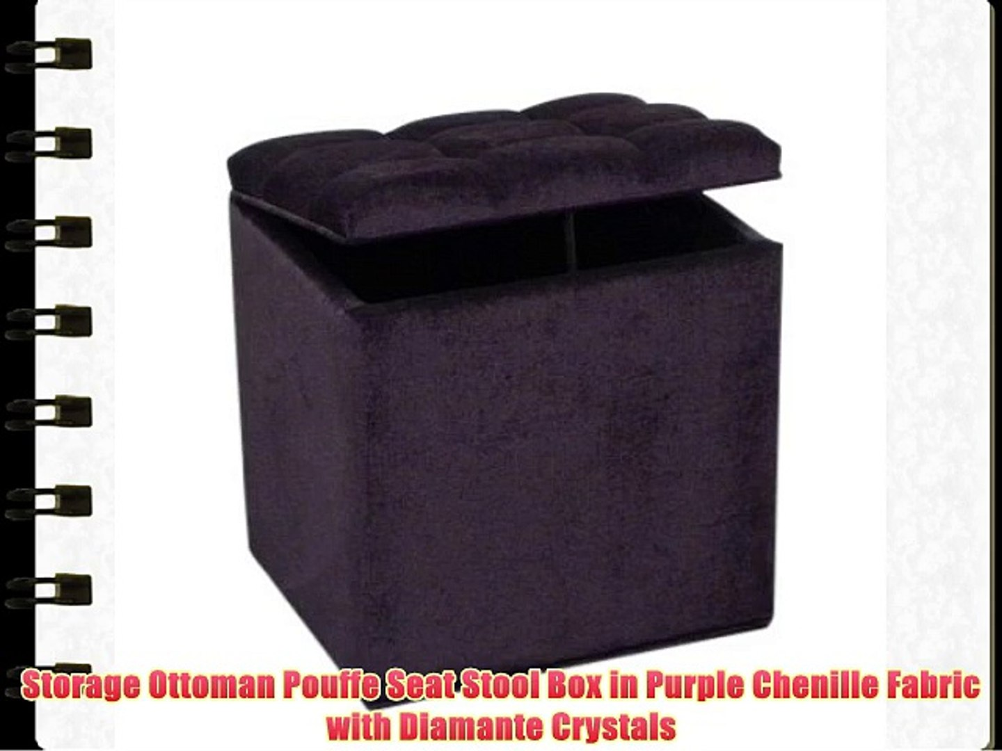 Terrific Storage Ottoman Pouffe Seat Stool Box In Purple Chenille With Diamante Crystals Ocoug Best Dining Table And Chair Ideas Images Ocougorg