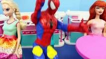 SPIDERMAN SHOWS HIS FACE!!! Disney Frozen & Barbie Dolls Parody by DisneyCarToys