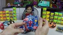 HALLOWEEN PLAYDOH SURPRISE EGGS PUMPKIN FACES Surprises Spider-Man Batman SpongeBob Disney Cars Toys