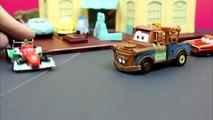 Disney Pixar Cars Tokyo Mater Races for Radiator Springs with Francesco Bernoulli down a race track