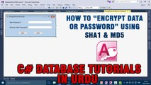 P(9) C# Access Database Tutorials In Urdu - Encrypt Data/Password using SHA1 & MD5