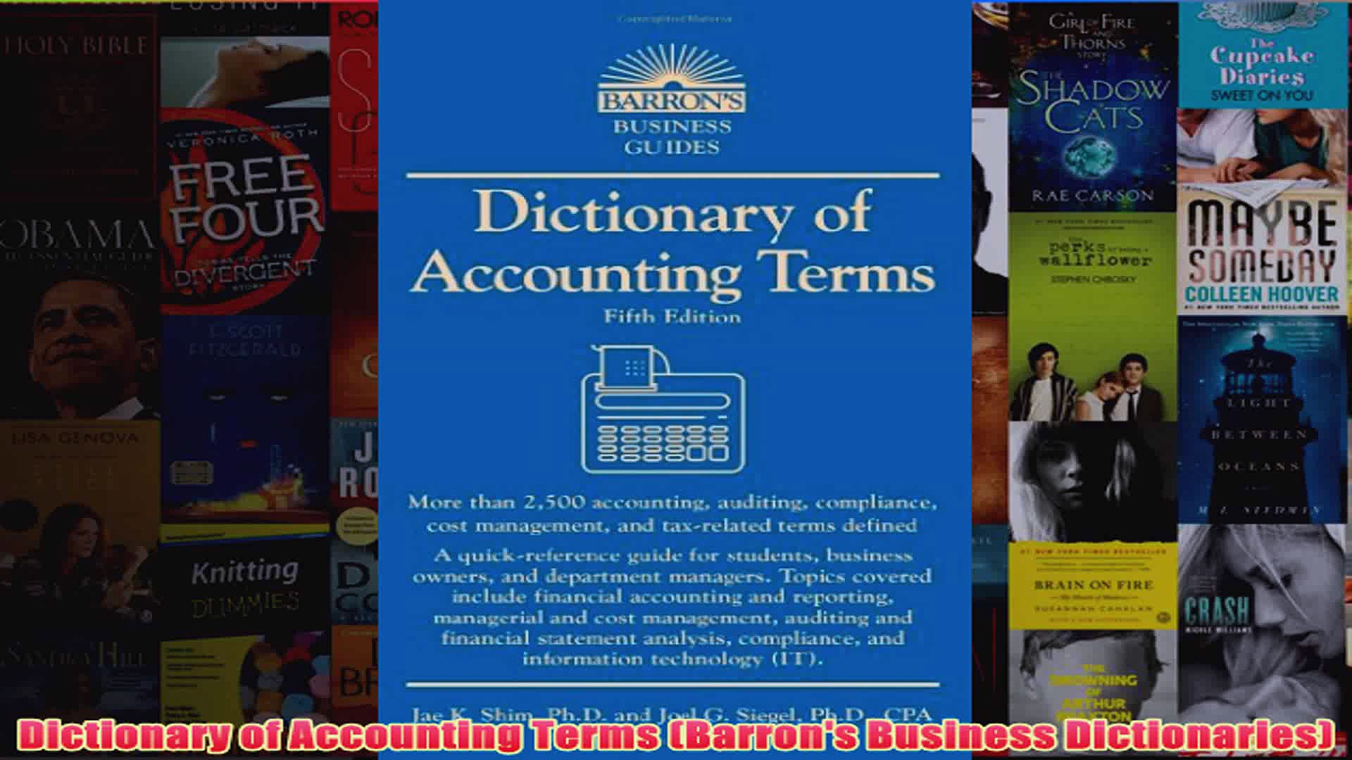 Dictionary of Accounting Terms Barrons Business Dictionaries