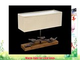 Table Lamp Desk Light Wood Bird Fabric Brown Light Colour Nightstand Light   Brillibrum Flyer