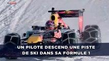 Un pilote descend une piste de ski dans sa Formule 1