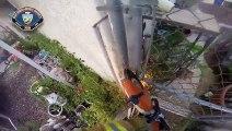 Helmet cam shows firefighters battling intense blaze