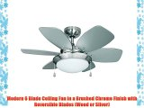 MiniSun Chrome Effect 30 / 76cm Modern Ceiling Fan With Frosted Glass Light Shade