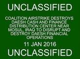 Coalition airstrike destroys Daesh finance distribution center near Mosul.