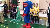 Queen ELSA at HOLIDAY Charity School Event with Minions and Mario