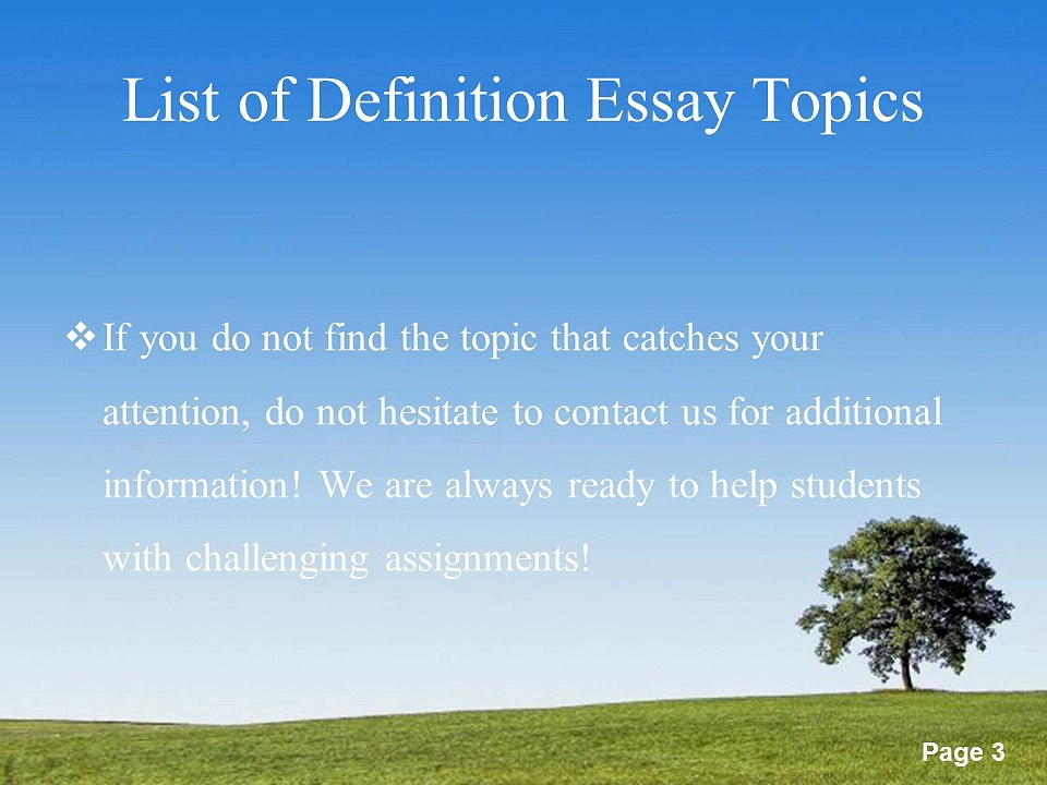 Essay Topics List