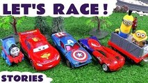 Thomas and Friends Race Cars Racing Toys Spiderman Hot Wheels Play Doh Can Heads TMNT Aven