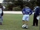Maradona dribble with a ball, a tennis ball and a ping pong ball