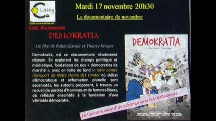 Extraits de mon 3e film DEMOKRATIA, projection au Lutetia près Nantes, novembre 2015
