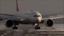 Crosswind Landings during a storm at Düsseldorf on an icy runway. Boeing 777, Airbus A340, A330 Big Planes