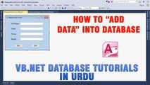 P(3) VB.NET Access Database Tutorial In Urdu - Insert Data Into Database
