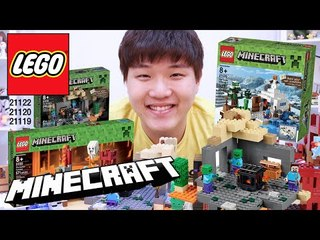 마인크래프트 레고 지옥,눈 지역,좀비 던전-MinecraftI LEGO Nether Fortress21122,Snow hideout21120,Zombie Dungeon21119