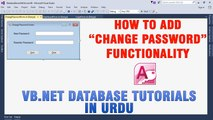 P(7) VB.NET Access Database Tutorials In Urdu - How to Add Change Password Functionality
