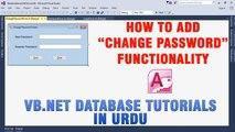P(7) VB.NET Access Database Tutorials In Urdu - How to Add Change Password Functionality