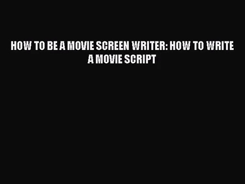 how to write movie script in