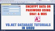 P(9) VB.NET Access Database Tutorial In Urdu - Encrypt Data/Password using SHA1 & MD5