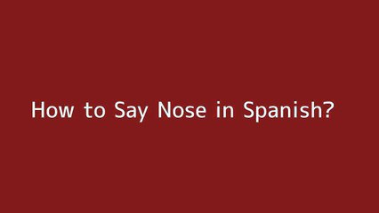 How to say Nose in Spanish