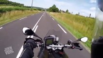 Motorcyclist Barely Misses Swinging Gate of Truck | Near Miss
