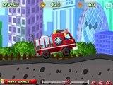 Sam el Bombero una vez más trata de salvar a todos con su camión de bomberos por la ciudad español