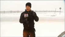 News Reporter Hit By Snow From Snow Plow  Doesnt Fall Fox 29 (Steve Keely)