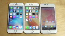 iPhone 6 Official iOS 9 vs. iPhone 6 iOS 9.1 Beta vs. GooPhone I6 - Speed Test!